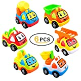Gimilife Pull Back Vehicles, 6 Pack Assorted Construction Vehicles,Toy Cartoon Cars,Cute Smile Construction Truck Set For Preschool Learning Baby 2+ Ages Children Toddlers Kids Gift