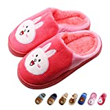Boy's & Girl's Cute Animal House Slippers Bear Bunny Fuzzy Indoor Shoes Warm Winter Home Slipper, Anti-Skid Sole (Toddler/Little Kid/Big Kid) (Big Kid 3-4M, Watermelon Red)