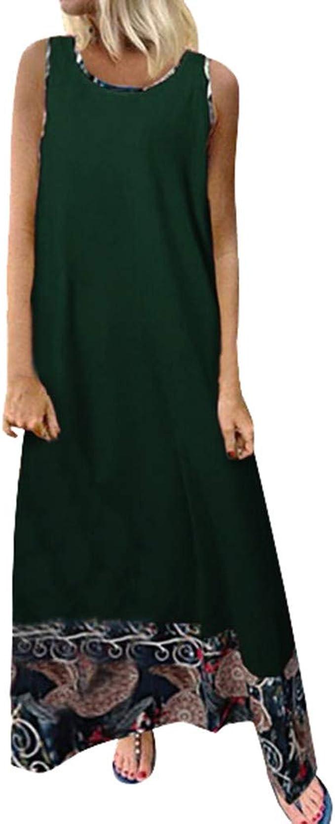 Sylar Verano Mujer Casual Largos, Vestidos Playa Mujer Verano 2019 Vestidos De Algodón Color Sólido para Mujer Vestidos Largos De Fiesta Mujer Sin Manga Vestidos De Noche Cuello Redondo: Amazon.es: Ropa y