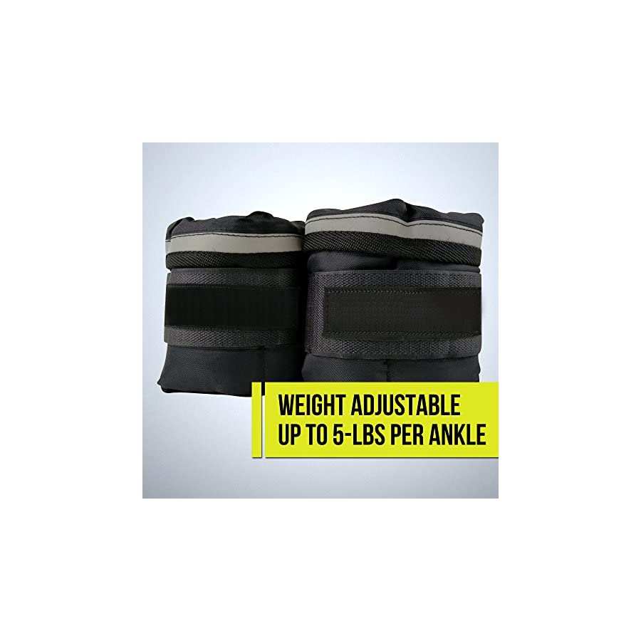 Wrist Weight Set | Brilliant Pair of 5 Pounds Black Ankle Weights Power Muscle Booster Immensely Sturdy | Extremely Secure Fastening Strap Adjustable Premium Oxford Cloth | 423
