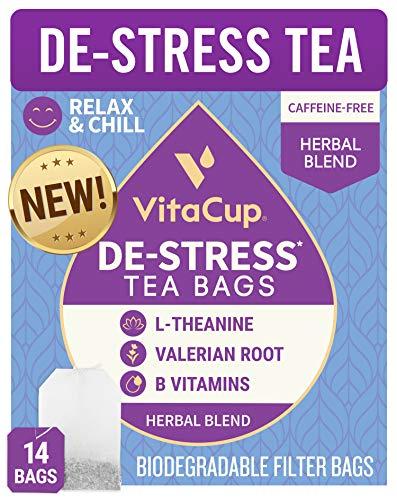 VitaCup DeStress Herbal Tea Bags 14 Ct   Relax & Chill   Chamomile, L-Theanine, Valerian Root & Vitamins B1, B5, B6, B9, B12   Caffeine Free Sealed Single Serve Wellness Tea Sachet Bag