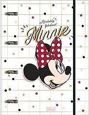 Caderno Argolado Cartonado Universitário com Elástico, Tilibra, Minnie, 294667, 20x27.5cm, Vermelho, 80 Folhas