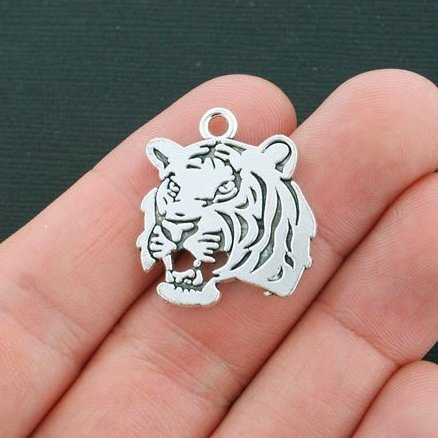 - NP Supplies 10 PCS 28x23mm Tiger Charms Antique Silver Tone Double Side Tiger Head Charm (NS814)