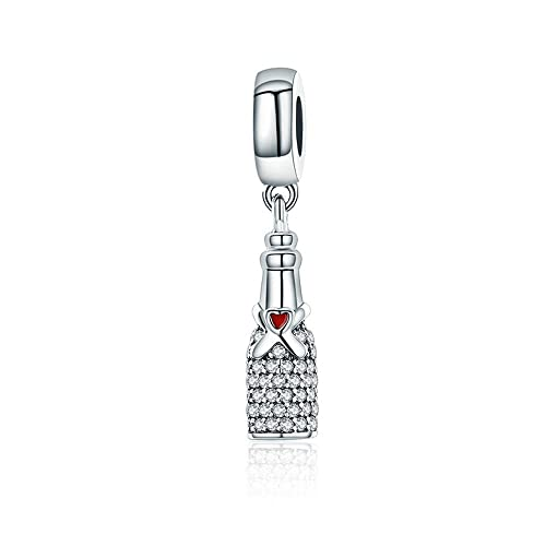 6bfda557f Everbling Celebration Time Red Wine & Glass Cup Bottle Red CZ 925 Sterling  Silver Bead Fits