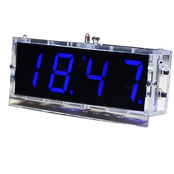 KKmoon Compacto de 4 Dígitos Kit del Reloj Digital LED DIY Control de Luz Monitor de Temperatura Fecha Hora con Caso Transparente: Amazon.es: Bricolaje y ...