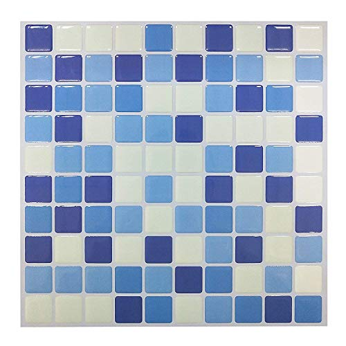 10-Sheets Peel and Stick Self-Adhesive Wall Tile with Mosaic Effect for Kitcheh Bathroom Backsplash Blue White 9