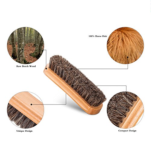 Premium Shoe Brush Kit & Valet with Horsehair Shine & Crepe Suede Leather & Synthetic Bristle Handcrafted Wood Block Brush for Shoes brushing, Bags, Leather cloth clean- 3 Pieces by chuanyuekeji (Image #3)