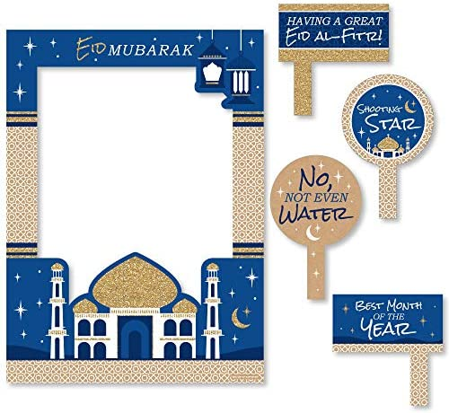 Amazon Com Ramadan Eid Mubarak Selfie Photo Booth Picture Frame Props Printed On Sturdy Material Kitchen Dining