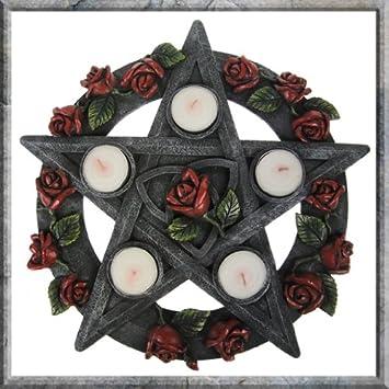 Pentagrama rosa wiccano Pagan Coleccionable de soporte para vela de té: Amazon.es: Hogar