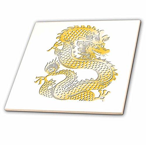 3dRose TDSwhite - Patterns Designs - Golden Dragon Chinese Zodiac Symbol - 6 Inch Ceramic Tile (ct_285196_2)