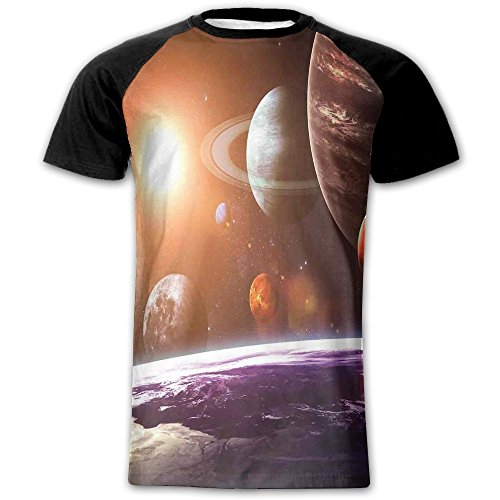 Newfood Ss Space Theme View of The Planets from Earth Science Room Art with Sun and Moon Men's Short Sleeve Raglan T M
