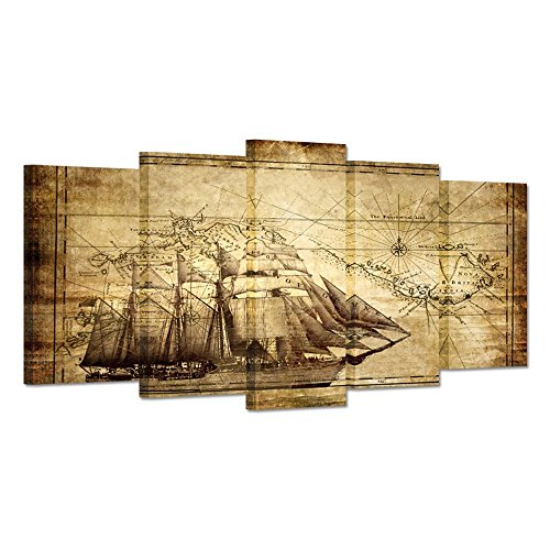 Hello Artwork - Wall Art Canvas Prints Vintage Map Adventure Ocean Sailing Map Painting Compass Boat Sailing On The Sea Large Size 5 Panels Ready To Hang For Living Room (Large Size 60x32inch)