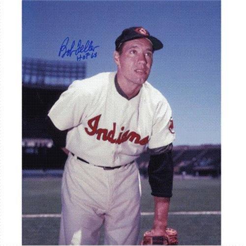 Bob Feller Autographed Cleveland Indians 8x10 Photo w/