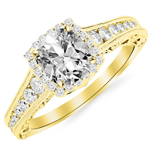 GIA Certified 1.45 Carat Cushion-Cut 14K Yellow Gold Vintage Sidestone Diamond Engagement Ring with Milagrain Half Bezel Baguette with a 0.70 Carat, D-E Color, VVS1-VVS2 Clarity Center ()