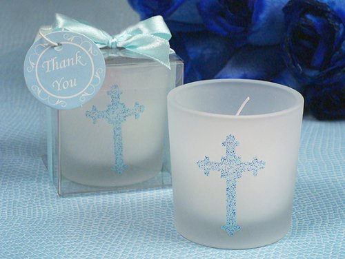 Blessed Events Cross Design Candle Holder C1017 Quantity of 1 Blue Cross Candle Favors