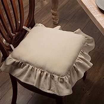 Amazon Com Country House White Ruffled Chair Pad 16