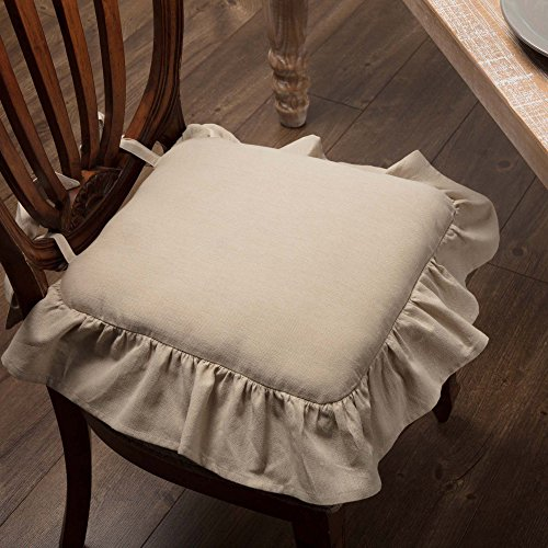 Piper Classics Ruffled Chambray Natural Chair Pad, 15x15, Farmhouse Style Chair Cover by Piper Classics