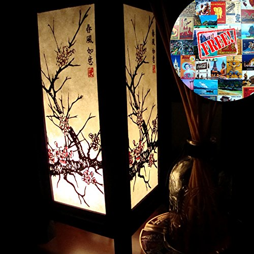 Apple 505 (Japanese Pink Sakura Tree White Handmade Asian Oriental Wood Light Night Lamp Shade Table Desk Art Gift Home Vintage Bedroom Bedside Garden Living Room; Free Adapter; a Us 2 Pin Plug #505)
