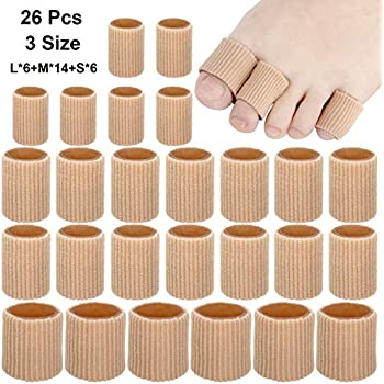 26 Pieces Toe Cushion Tube 0.98 Inches Toe Tubes Sleeves 3 Different Size Soft Gel Corn Pad Protectors for Cushions Corns,Blisters, Calluses, Toes and Fingers.