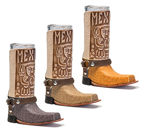 Mexican Leather Mini Texan Boot Tequila Shot - Original Artisan Bota Texana para Tequila 1 pc (Assorted Colors)