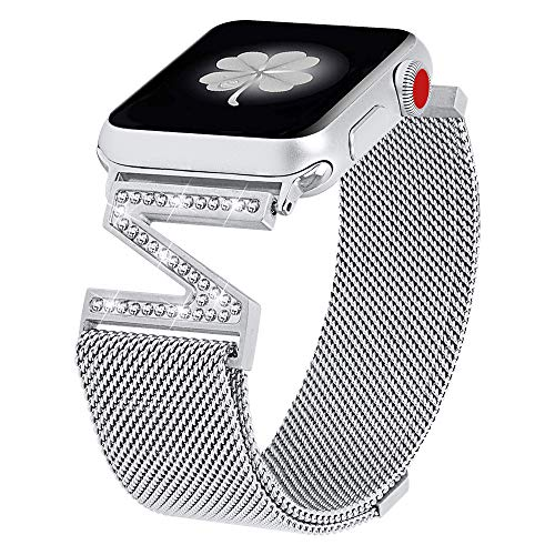 jansin New Z-Shaped Bands Compatible with Apple Watch Band 38mm 40mm iwatch Series 4/3/2/1, Stainless Steel Dressy Jewelry Diamond Bracelet Bangle Wristband Women (Silver, ()