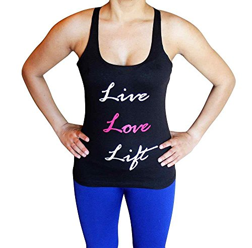 Flexz Fitness Live Love Lift Tank Top - Comfortable Racerback to wear at Gym, Yoga, Workout and Crossfit - Medium