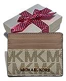 Michael Kors Jet Set Travel LG Card Holder Case (Signature MK Vanilla/Ballet)