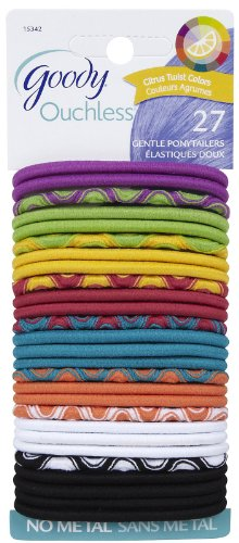 Goody Ouchless Thick Elastics, 2 mm, Assorted Colors, 27 ct