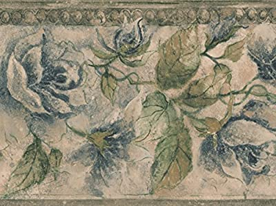 Black Creme Bloomed Flowers Vintage Floral Wallpaper Border Retro Design, Roll 15' x 8''