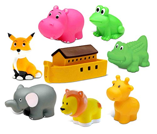Dollibu Bath Buddies Noahs Ark and Critters Rubber Squirter Toys - Boat, Elephant, Lion, Giraffe, Alligator, Fox, Hippo, Frog - 3 inch - For Baths, Pool, Outdoor - Baby Bathtime Learning (8pc Set)
