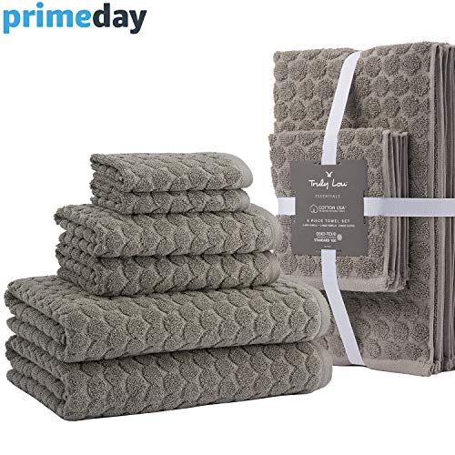 - Truly Lou Decorative 6 Piece Bath Towel Set - Luxurious Jacquard Woven Pattern Made with USA Cotton - Ultra Absorbent, Fast Drying, and Eco-Friendly - Durable & Soft Spa Quality Towels (Grey)