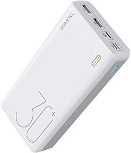 ROMOSS 30000mAh Power Bank Sense 8+, 18W PD USB C Portable Charger with 3 Outputs & 3 Inputs External Battery Pack Cell Phone Charger Battery Compatible with iPhone 11, Xs Max, MacBook, iPad Pro