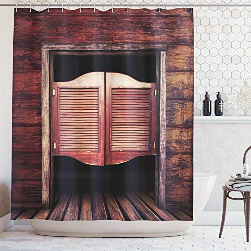 Ambesonne Western Decor Collection, Old Vintage Rustic Wooden Wild West Swinging Cowboy Bar Saloon Door Picture, Polyester Fabric Bathroom Shower Curtain Set with Hooks, Maroon Brown]()
