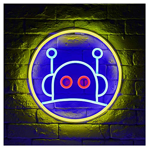 Robot LED Neon Sign Lights Art Wall Decorative Sign Lights Night Light Holiday Birthday Party Supply Kids Room Home Decor ()