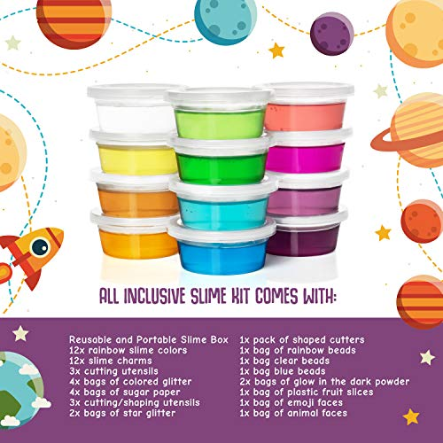 Cosmic Slime Kit - Jumbo 55 Piece Set, Slime Supplies, Make Your Own Slime Kit, Slime Charms, Non-Toxic Clear Putty, Slime Kit for Girls and Boys, Sensory Toy and Slime, Great Gift for Girls and Boys by Stardust & Jupiter (Image #1)