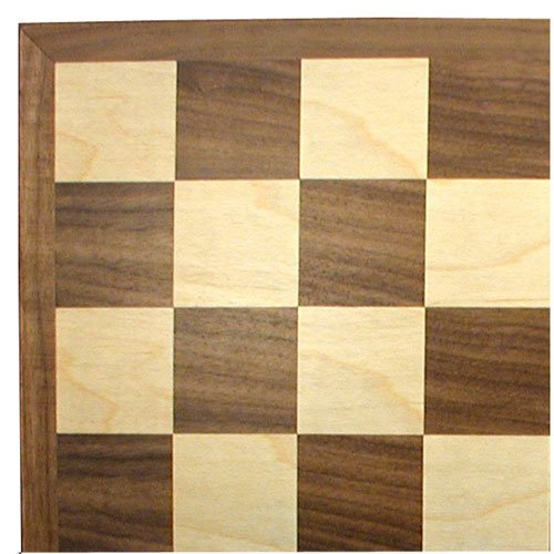 Worldwise Imports 17in Walnut and Maple Wooden Chessboard with Thin Frame and 2in (Chess Board Wooden Book)