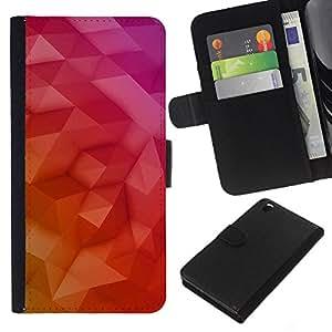 Planetar® Modelo colorido cuero carpeta tirón caso cubierta piel Holster Funda protección Para HTC DESIRE 816 ( Polygon Art Purple Yellow 3D Red Pink )
