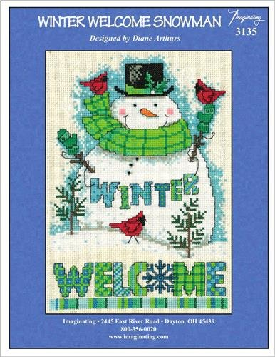 Winter Welcome Snowman Cross Stitch Chart and Free Embellishment