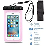 Universal Waterproof Case including ARMBAND COMPASS LANYARD Best Water Proof Dustproof Bag for iPhone 6S, 6, 6S plus, 6 plus, 5, 5s, 4, Samsung Galaxy S6, S5, S4, Samsung Note 4,or any phone (Pink)
