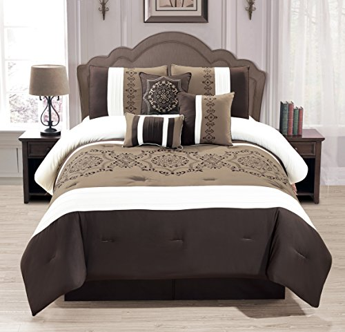 Bag Queen Bedding Ensemble - WPM 7 Pieces Complete Bedding Ensemble Brown taupe Victorian print Luxury Embroidery Comforter Set Bed-in-a-bag Bedding-Elizabeth (Queen)