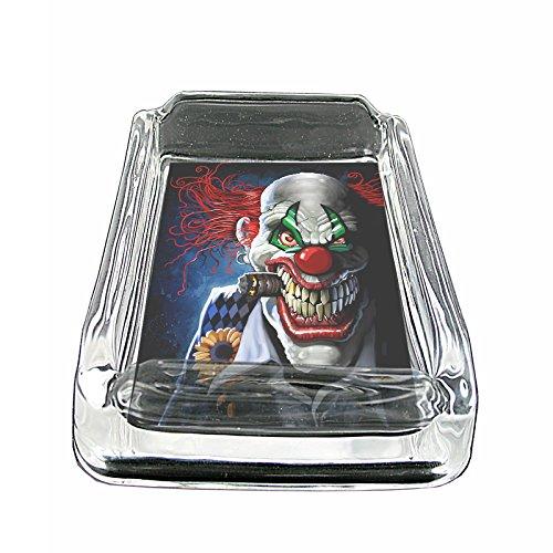 Evil Clowns Scary Horror S9 Glass Square Ashtray 4