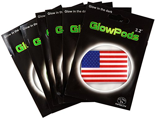 American Flag Glow Toys - Glow in the Dark Stickers 6 pc set Party (Dark Bride Makeup Halloween)