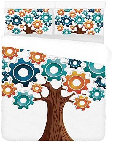 Industrial Decor Soft 3 Piece Bedding Set,Innovation Gears Concept Tree The System of Nature Cooperation Start Up Modern Graphic for Bedroom,Twin