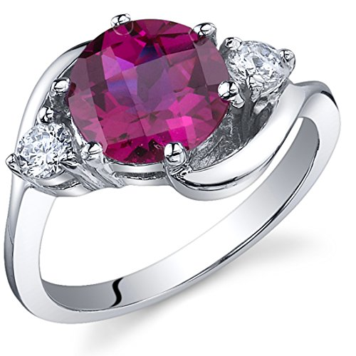 3 Stone Design 2.25 carats Created Ruby Ring in Sterling Silver Rhodium Nickel Finish Sizes 5 to 9