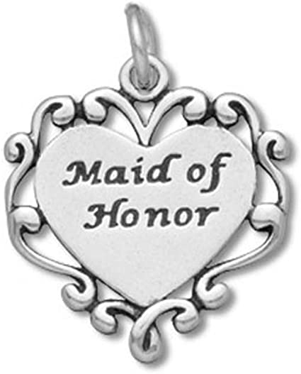 Made in the USA Maid of Honor Charm Sterling Silver Bridesmaid Gift