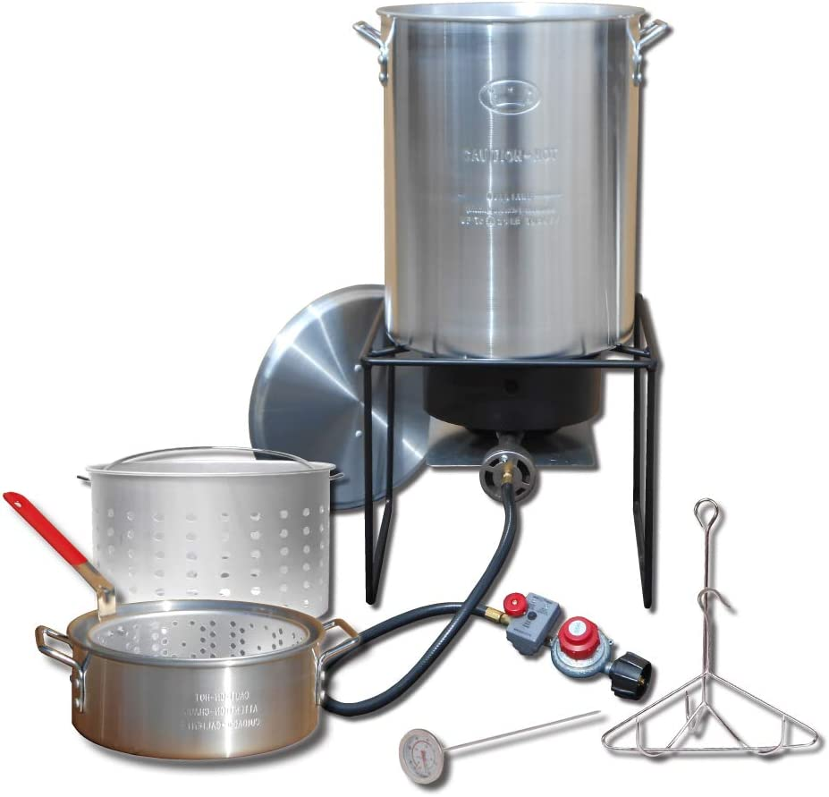 King Kooker Propane Outdoor Fry Boil Package with 2 Pots, Silver, one Size (12RTFBF3)