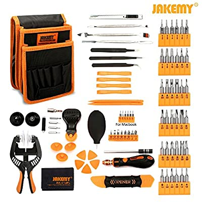 Jakemy Screwdriver Set, 99 in 1 with 50 Magnetic Precision Driver Bits, Repair Tool kit with Pocket Tool Bag for iPhone 8/Plus, Computer, Macbook, Cell Phone, PC, Laptop, Tablet, Nintendo