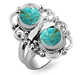 3.50ctw,Genuine Turquoise 8x8mm Round & .925 Silver Plated Handmade Fashion Ring (Size-9)