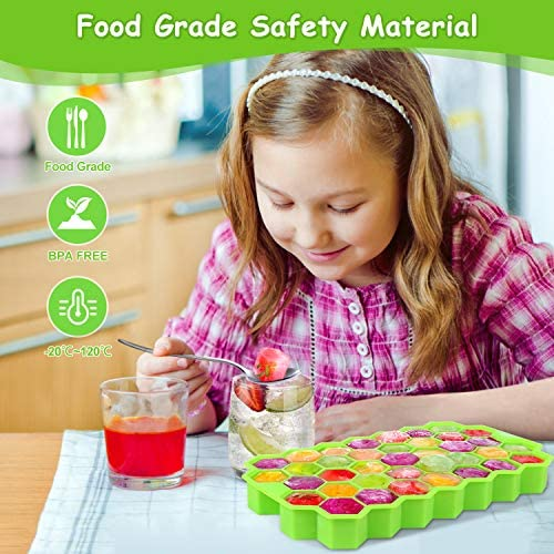 Ice Cube Trays with Lids2Pack 74 Ice Cubes Food Grade Silica Gel Flexible and BPA Free with