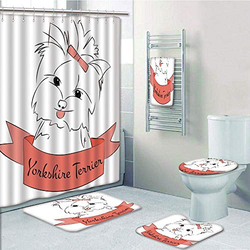 Bathroom 5 Piece Set shower curtain 3d print Multi Style,Yorkie,Cute Puppy with Hair Buckle Yorkie Terrier Animal Ribbon Cartoon Character Print Decorative,Pink White,Bath Mat,Bathroom Carpet Rug,Non-